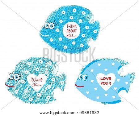 Three funny blue fish