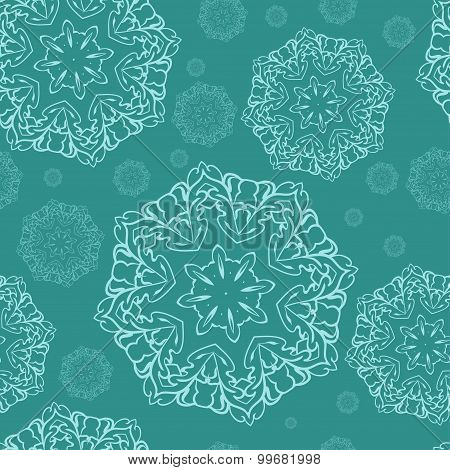Vector decorativetextile backgraund.  Christmas snowflake. Abstract pattern