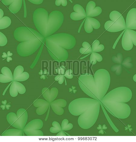Seamless Pattern Of Shamrock Shapes Of Varying Sizes