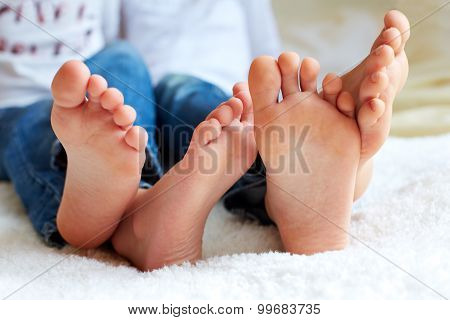 Funny Children's Foots Is Barefoot, Closeup.