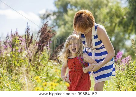 Mom And Daughter Family Happy Joy In Nature
