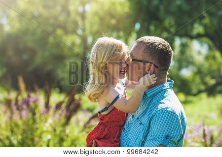 Dad And Daughter Family Happy Joy In Nature