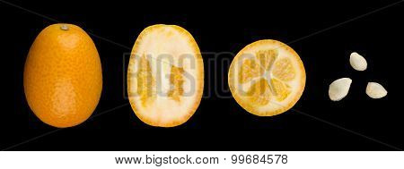 Oval Kumquats With Seeds In A Row On Black Background