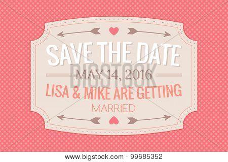 Wedding Invitation Card On Gingham Background