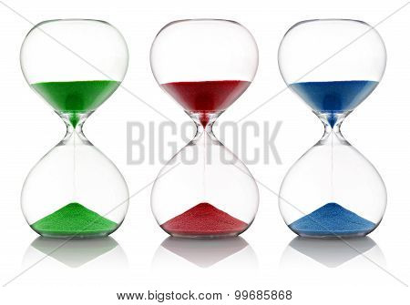 Colored Sand Running Through Hourglasses