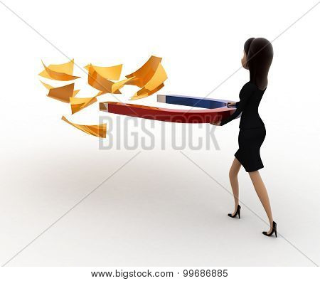 3D Woman Attract Golden Paper With Magnet Concept