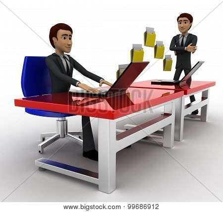 3D Man File Transfer Between Computer Concept