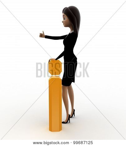 3D Woman With Golden Exclamation Mark Concept