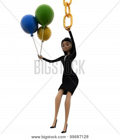 3D Woman Hanging On Chain And Holding Balloons Concept