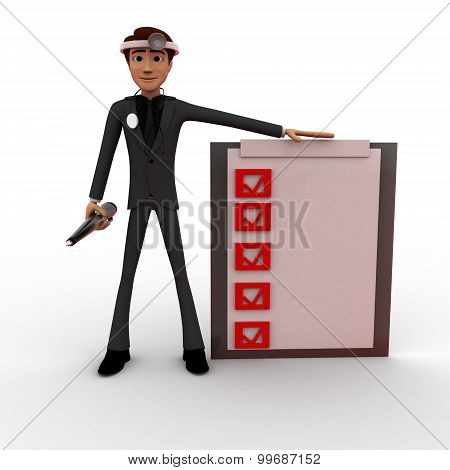 3D Man Doctor With Check List Concept