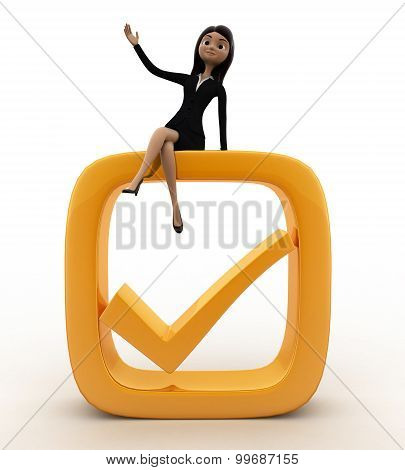 3D Woman On Check Symbol Concept