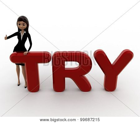3D Woman With Try Text Concept