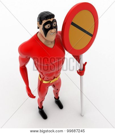 3D Superhero  With No Entry Or Stop Sign Concept