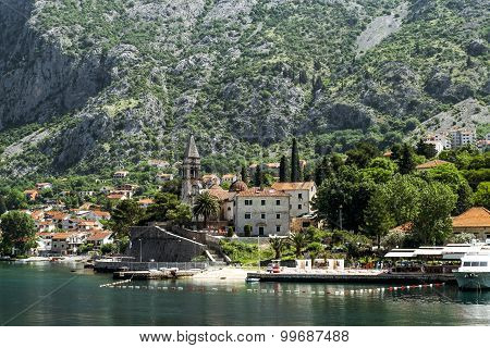 Church Of St.matthew  And Church Of St. Eustache In The City Of Dobrota. Montenegro