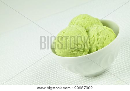 Pistachio Ice Cream in a Bowl