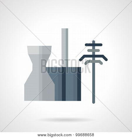Power station flat vector icon