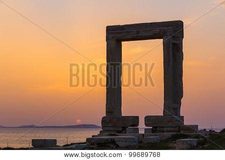 Portara In Chora Town, Naxos Island, Cyclades, Aegean, Greece