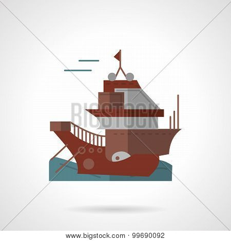 Cargo vessel flat vector icon