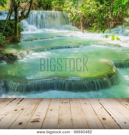 Wood Floor And Waterfall In Rain Forest (tat Kuang Si Waterfalls At Luang Prabang, Laos.).