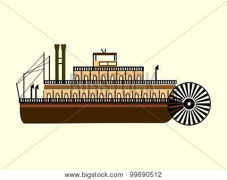 River Retro Steamer With A Water Wheel Blades