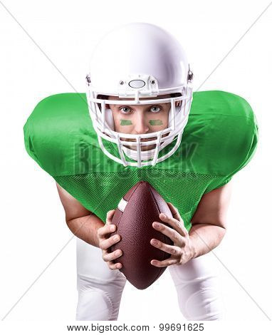 Football Player on green uniform isolated on white background