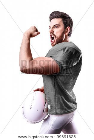 Football Player on gray uniform isolated on white background