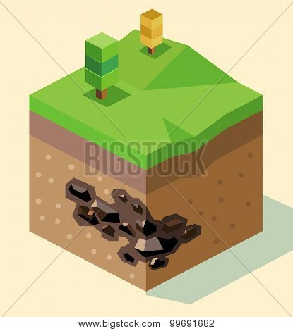 Coal Reserve isometric. isometric art