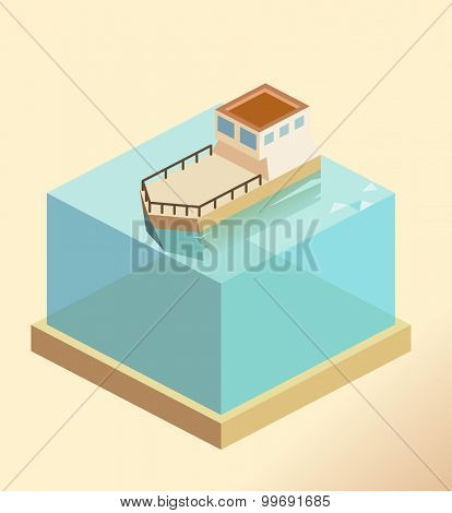 Classic Old fisher boat. isometric art