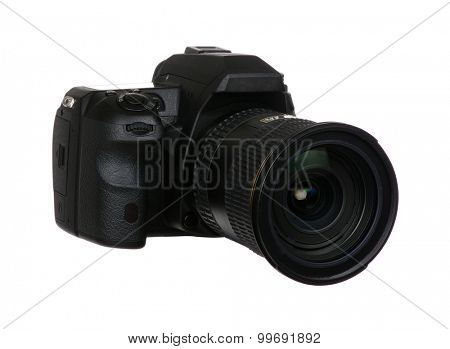 digital single lens reflex camera with lense isolated on white background