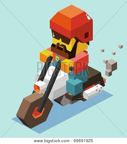 Riding Motorcycle Safely. isometric art
