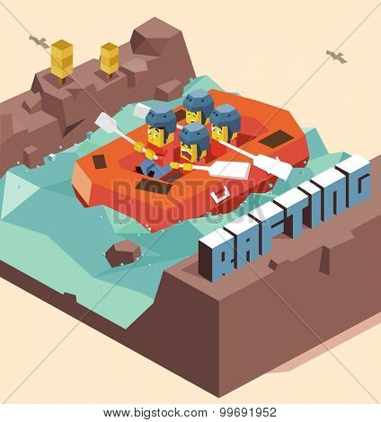 Fun Rafting activity. isometric art