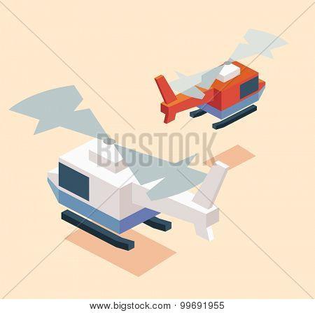 Isometric chopper. isometric art