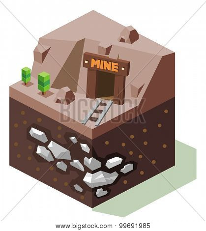 Stannary or Silver mine. isometric art