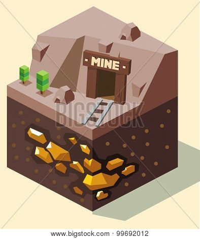 Old Gold mine. isometric art