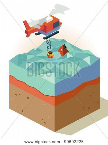 Air rescue with chopper. isometric art