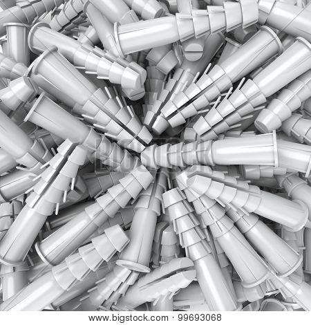 3D rendering of a heap of dowels