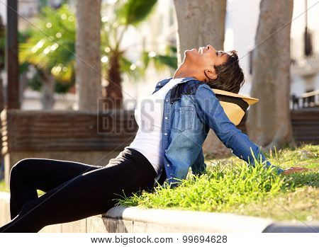 Black Woman Laughing Outside