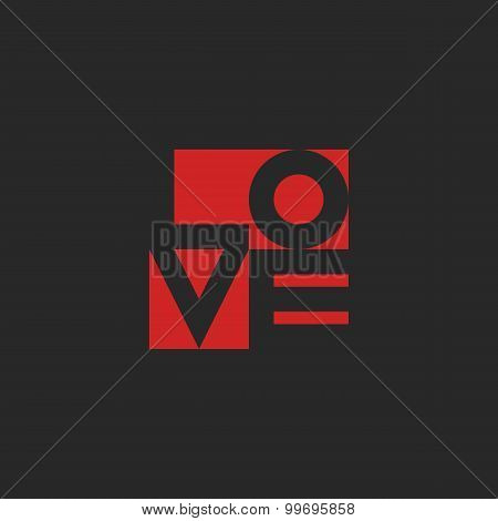 Love Word, Mockup Print Black And Red Graphic Design For T-shirt Or Poster Background
