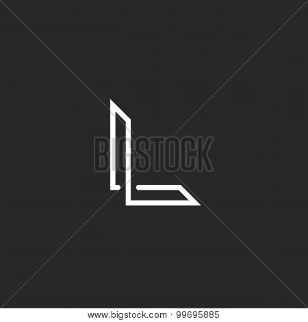 Monogram L Logo Letter, Overlapping Thin Line, Mockup Elegant Symbol For Business Card