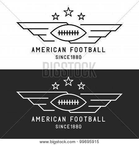 American Football Ball Logo, Flying With Wings, Mockup Sport Tournament Thin Line Emblem, Black And