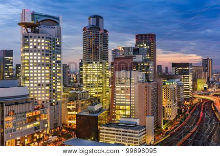 Osaka, Japan cityscape in the Umeda District.
