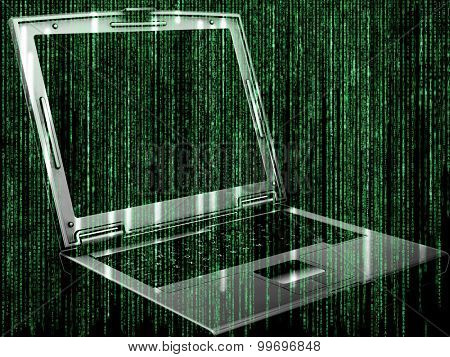 Futuristic background with matrix style code design with 3D laptop