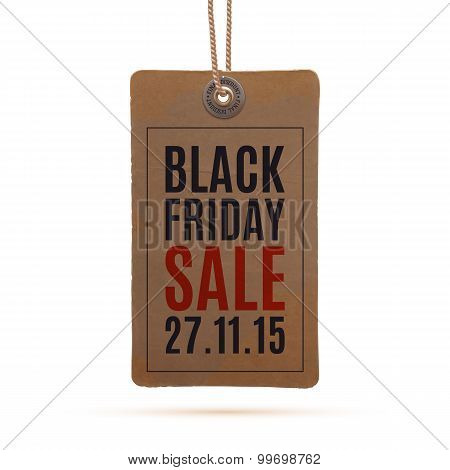 Black Friday sale. Realistic, vintage price tag.