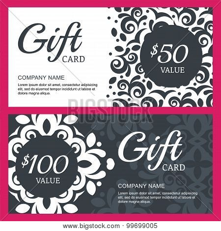 Vector Floral Gift Voucher Or Card Background Template. Vintage Decorative Black And White Illustrat