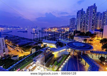 hong kong public estate at night