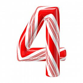 foto of desert christmas  - Mint hard candy cane 3d number collection striped in Christmas colours - JPG