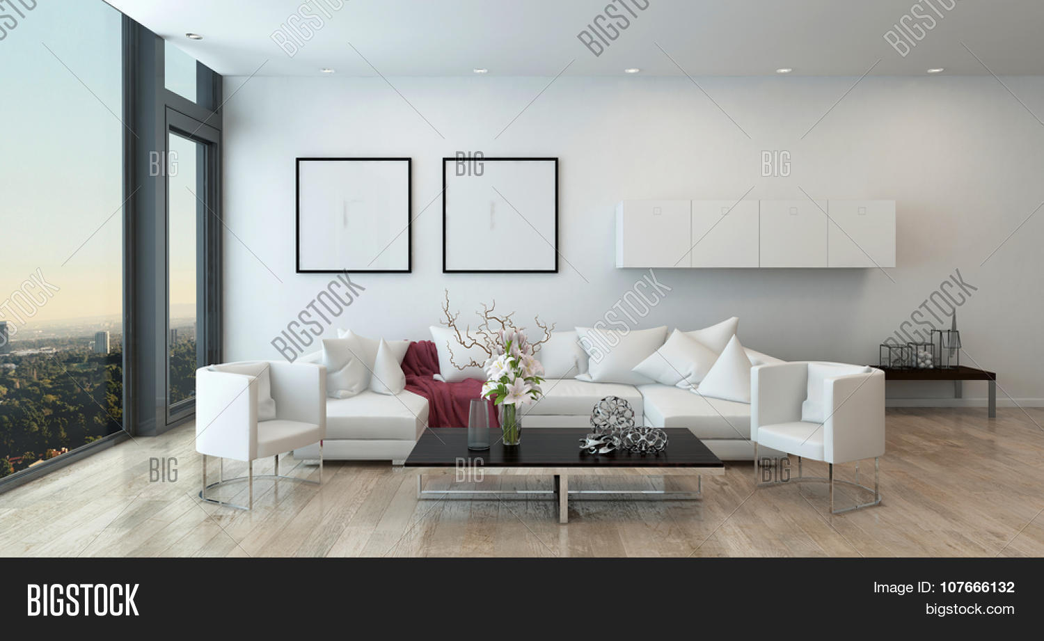 sectional sofa in open concept modern living room with modern