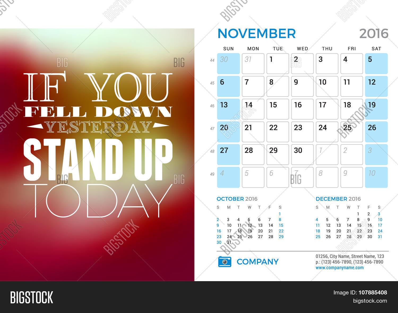 Desk Calendar 2016 Year. November Vector & Photo | Bigstock