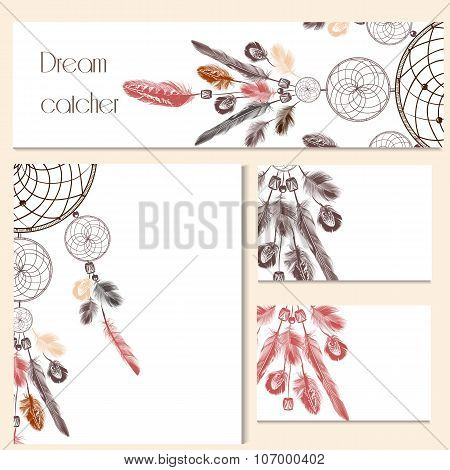 Vector Set Of Identity Templates With Hand Drawn Dream Catcher For Design