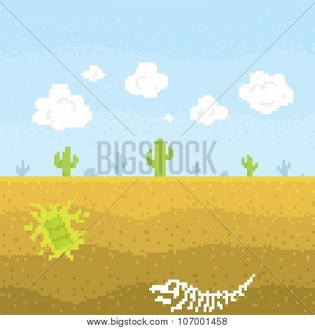 Pixel art desert vector illustration